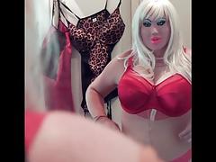 Posing in red bra