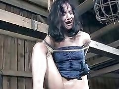 Tied up submissive bitch toyed by creepy dungeon master BDSM