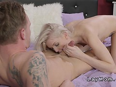 Blonde mature takes cock beside her knickers