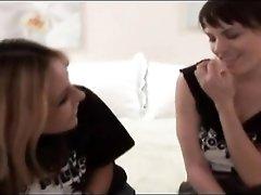 Dana DeArmond seduces a girl into lesbian kissing