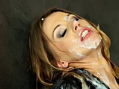 Euro bukake bitch facialized in the gloryhole