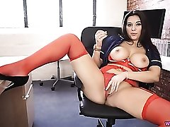 Big titty chick gives hot JOI as she masturbates