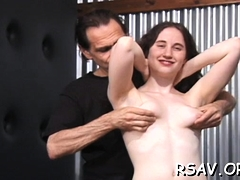 Slutty babe gets clothespin treatment on her tiny tits