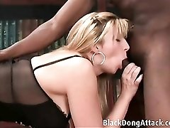 Dazzling black lingerie on a lady taking BBC