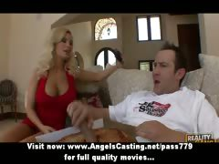 Adorable stunning blonde chick doing blowjob to the pizza