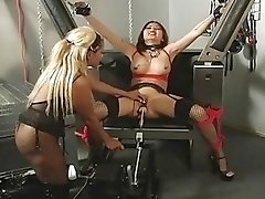 Bound curvy Asian babe cums while machine fucks her pussy