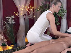 Busty brunette getting pussy massaged by lesbo