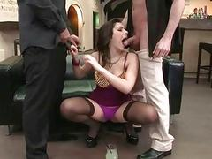 Hot natural busty brunette getting double fucked