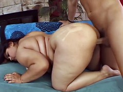 BBW blows him and takes his fat meat in her snatch