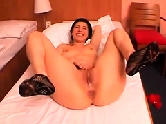 Short-haired big-ass cutie gets toyed, fucked and creampied
