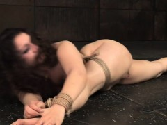 Flexible bound sub toyed in interracial duo