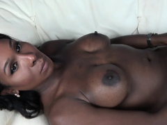 Ebony ts babe wanking off her big cock