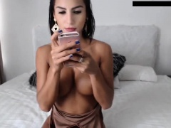 Bondaged brunette has big boobs