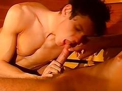 Hot sauna sex time with Franco Delorme and Adam Kubick