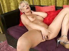 Mommy is all alone and rubbing her fresh cunt