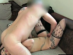 Tattooed amateur casting sperm to the face in the office