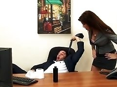 Fucking the boss after she catches him masturbating