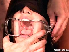 Slavegirl getting punished and fucked by three guys