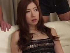 Rina Koda amazing group sex video show on the couch