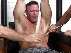 Muscular stud Joey J breaks down from rough tickling