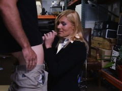 Hot blonde Milf screwed up by pawnkeeper in storage room