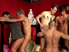 Men take turns on every other in homosexual scenery