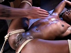 black sub balltied for whipping and fingering