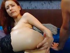 Gorgeous Romanian redhead in stockings receives a hard webcam anal