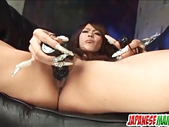 Rukia Mochizuki enjoys toys deep in her furry pussy