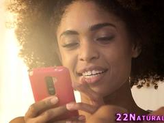 Afro ebony hottie jizzed