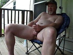Redneck Dad porch verbal masturbate and cum