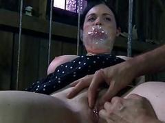 Tied up brunette sex slave punished by her cruel master