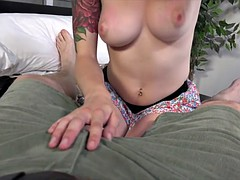 Natural busty Anna Lee sucking and fucking POV style