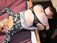 Mature slut bent over her bed for hard fucking