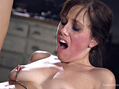 Raunchy babe takes it in all of her holes