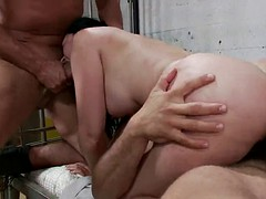 policemen give double anal penetration gangbanging for brunette inmate