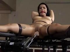 Bound babe Katrina hammered by a fuck machine BDSM porn