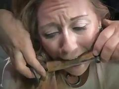 Chained bitch Emma Haize molested by a pervert BDSM porn