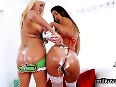 Hot lesbians fill up their monster butts with whipped cream