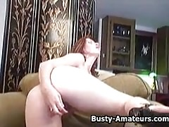 Busty amateur Ginger fingering and masturbating her pussy