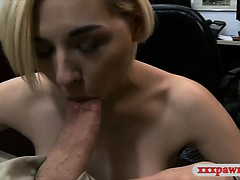 Cute blond pawns her BFs speaker and banged at the pawnshop