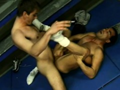 Gorgeous gay stud has his partner fingering and fucking his tight ass
