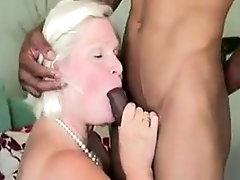 Curvaceous blonde granny explores her interracial desires