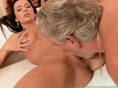 Gorgeous young brunette fucking older man