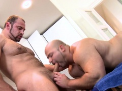 Muscle bear gets facial