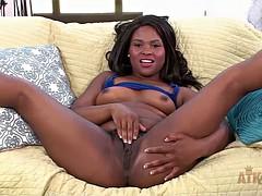 Cute black chick spreads her legs and masturbates