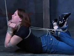 Curvy bitch tied up real good by perverted mistress BDSM