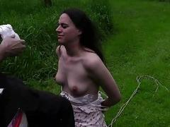 Tied up girl gets gagged by master outdoors BDSM porn