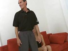 Young beauty gets enjoys sex with old fucker