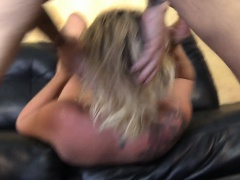 Dirty blonde swallows all his cock on the couch